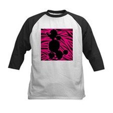 Zebra Striped Pink and Black Poodle Tee