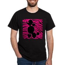 Zebra Striped Pink and Black Poodle T-Shirt