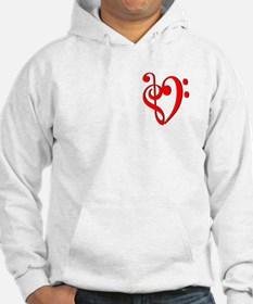 Treble and Bass Clef in Red Hoodie