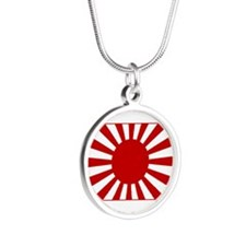 Rising Sun Flag 4 Silver Round Necklace