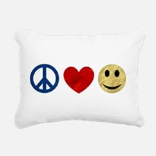 Peace Love Happiness Rectangular Canvas Pillow