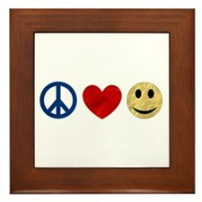 Peace Love Happiness Framed Tile