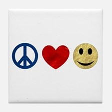 Peace Love Happiness Tile Coaster