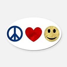 Peace Love Happiness Oval Car Magnet