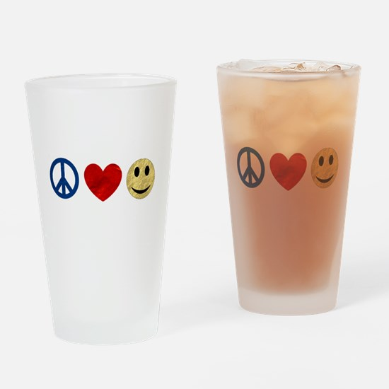 Peace Love Happiness Drinking Glass