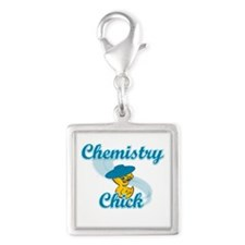 Chemistry Chick #3 Silver Square Charm