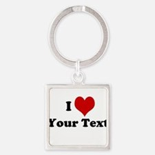 Customized I Love Heart Square Keychain