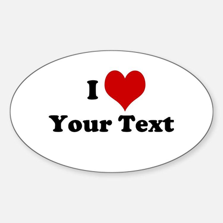 Customized I Love Heart Sticker (Oval)