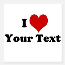 """Customized I Love Heart Square Car Magnet 3"""" x 3"""""""
