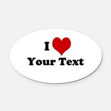 Customized I Love Heart Oval Car Magnet