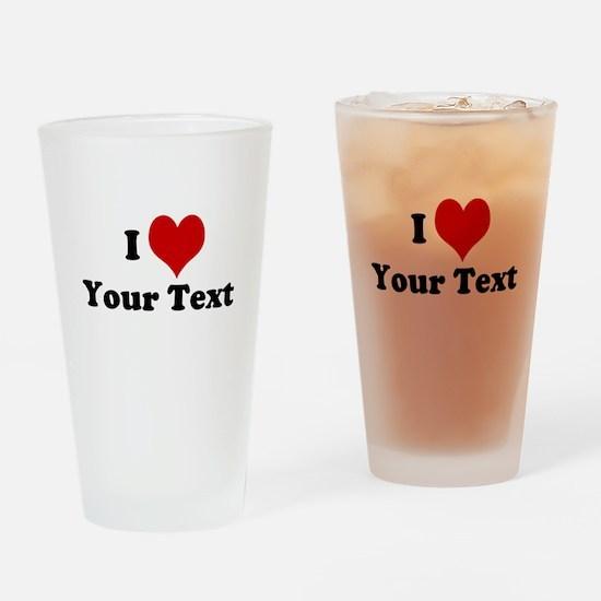 Customized I Love Heart Drinking Glass