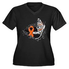 Hope Kidney Cancer Women's Plus Size V-Neck Dark T