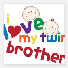 """Love My Twin Square Car Magnet 3"""" x 3"""""""