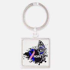 Hope Male Breast Cancer Square Keychain