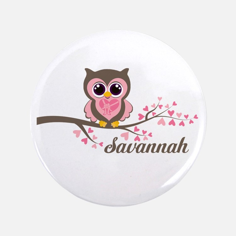 "Custom Valentines Day owl 3.5"" Button"