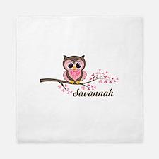 Custom Valentines Day owl Queen Duvet
