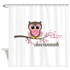Custom Valentines Day owl Shower Curtain