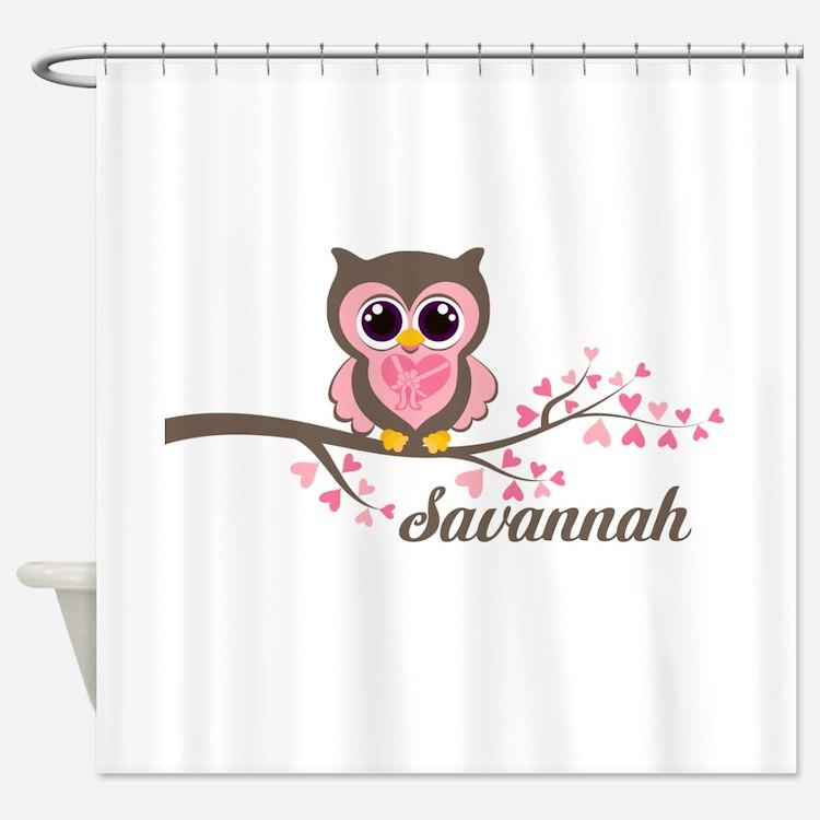 Custom Valentines Day owl Shower Curtain