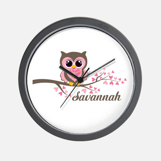 Custom Valentines Day owl Wall Clock