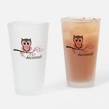 Custom Valentines Day owl Drinking Glass