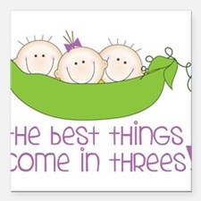 """Come In Threes Square Car Magnet 3"""" x 3"""""""