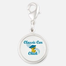 Classic Car Chick #3 Silver Round Charm