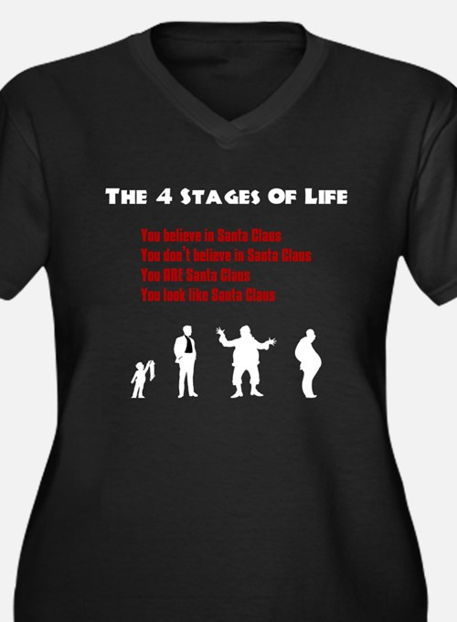 Four Stages of Life Women's Plus Size V-Neck Dark