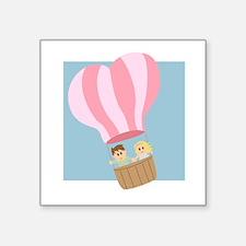 "Cute couple in hot air balloon Square Sticker 3"" x"