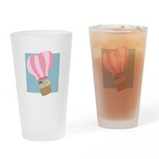 Cute couple in hot air balloon Drinking Glass