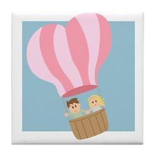 Cute couple in hot air balloon Tile Coaster