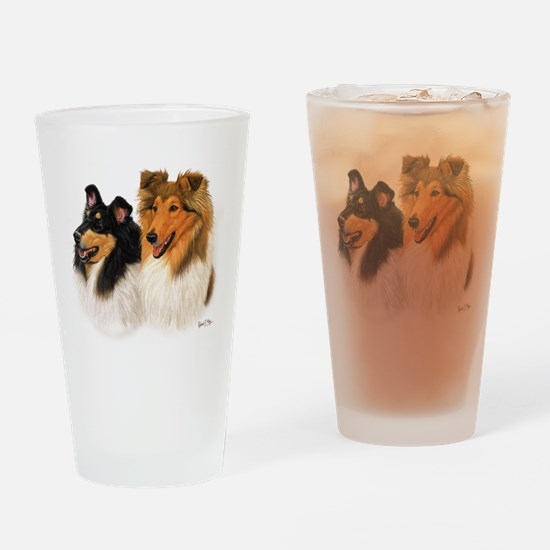Cute Collie Drinking Glass