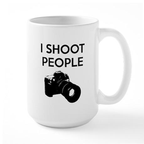 I shoot people - photography Large Mug