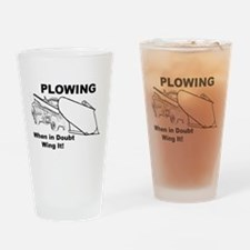 Snow Plowing Wing It Drinking Glass
