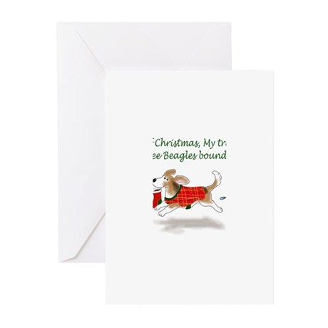 beagles bounding christmas - text Greeting Cards