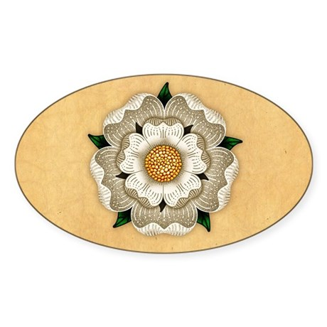 White Rose Of York Sticker (Oval)