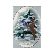 Basenji Christmas Rectangle Magnet (10 pack)
