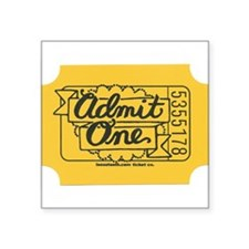 Admit One Yellow Rectangle Sticker