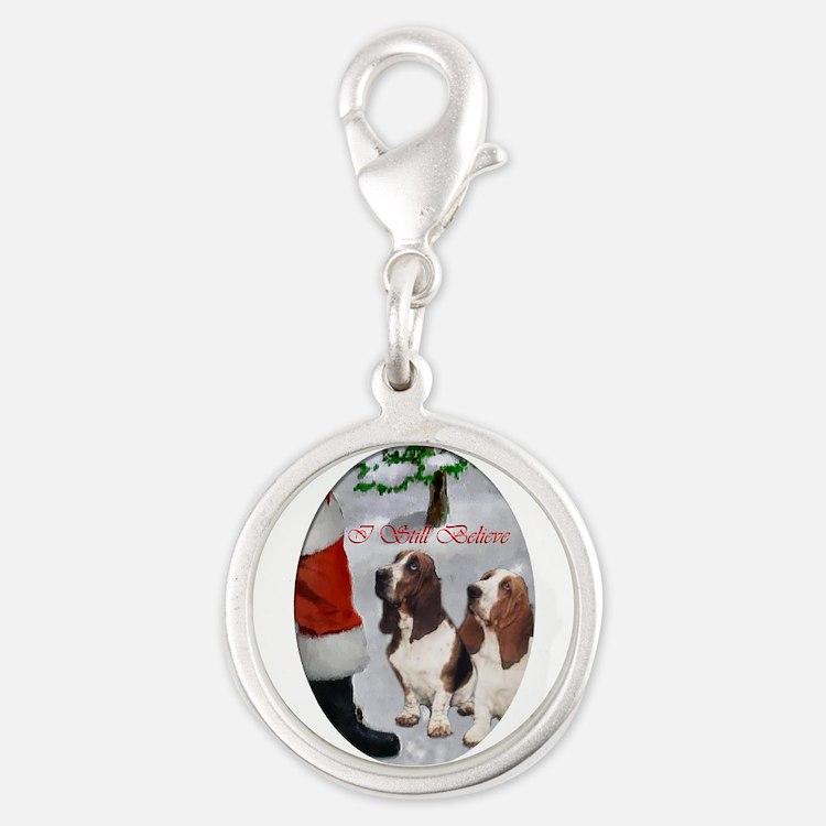 Basset Hound Silver Round Charm