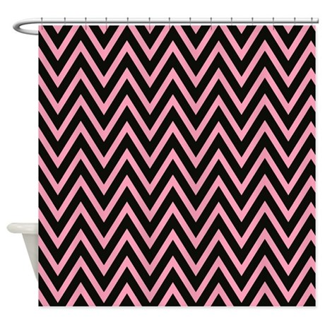 modern pink and black chevron shower curtain by