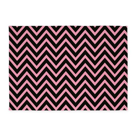 modern pink and black chevron 5 39 x7 39 area rug by chevroncitystripes. Black Bedroom Furniture Sets. Home Design Ideas