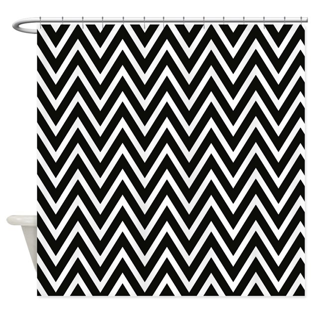 Black And White Chevron Stripes Shower Curtain By Chevroncitystripes
