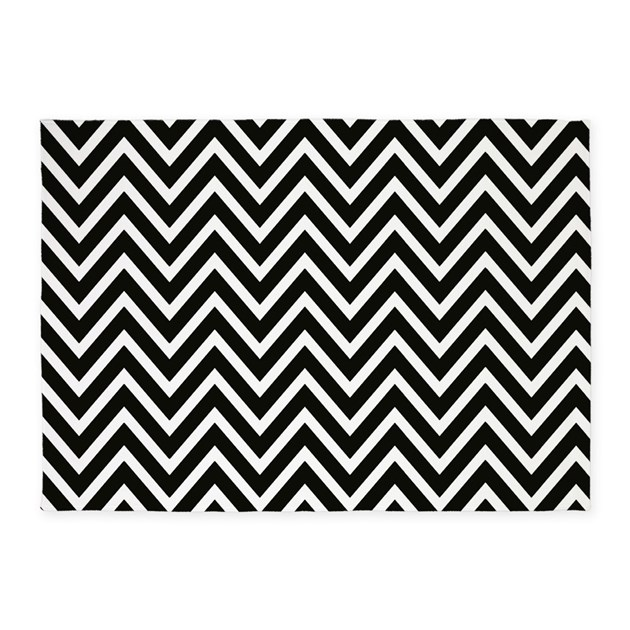 Chevron Stripe Rug: Black And White Chevron Stripes 5'x7'Area Rug By