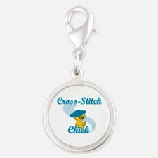 Cross-Stitch Chick #3 Silver Round Charm