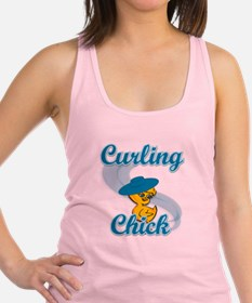 Curling Chick #3 Racerback Tank Top