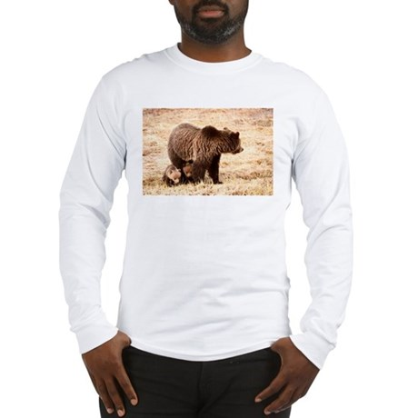 Grizzly Bear with cubs Long Sleeve T-Shirt