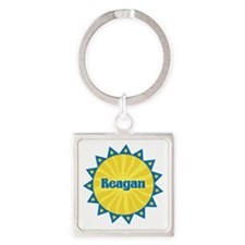 Reagan Sunburst Square Keychain