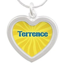 Terrence Sunburst Silver Heart Necklace