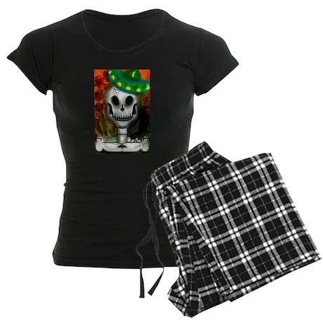 Skull in Green Sombrero Women's Dark Pajamas