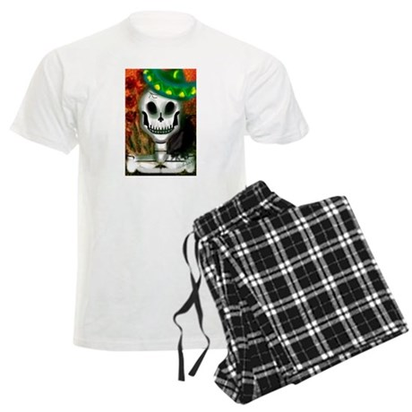 Skull in Green Sombrero Men's Light Pajamas