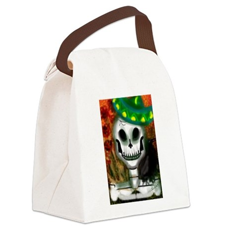 Skull in Green Sombrero Canvas Lunch Bag